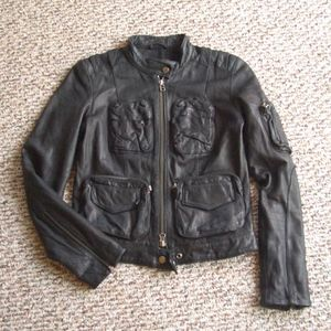 Danier black genuine leather cargo biker jacket P